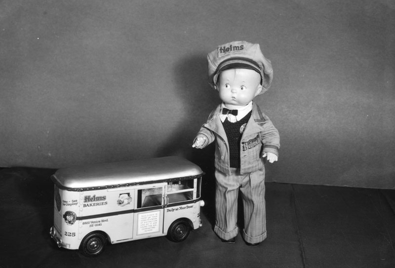 Miniature Helms Bakeries deliveryman doll and truck, c. 1935. (Courtesy, LAPL)