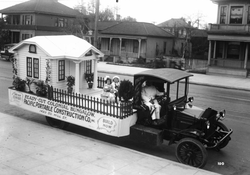 "Pacific Portable Construction Co. float promoting a ""Ready-Cut"" Colonial Bungalow, c. 1930, downtown L.A. (Courtesy, USC Digital Library)"