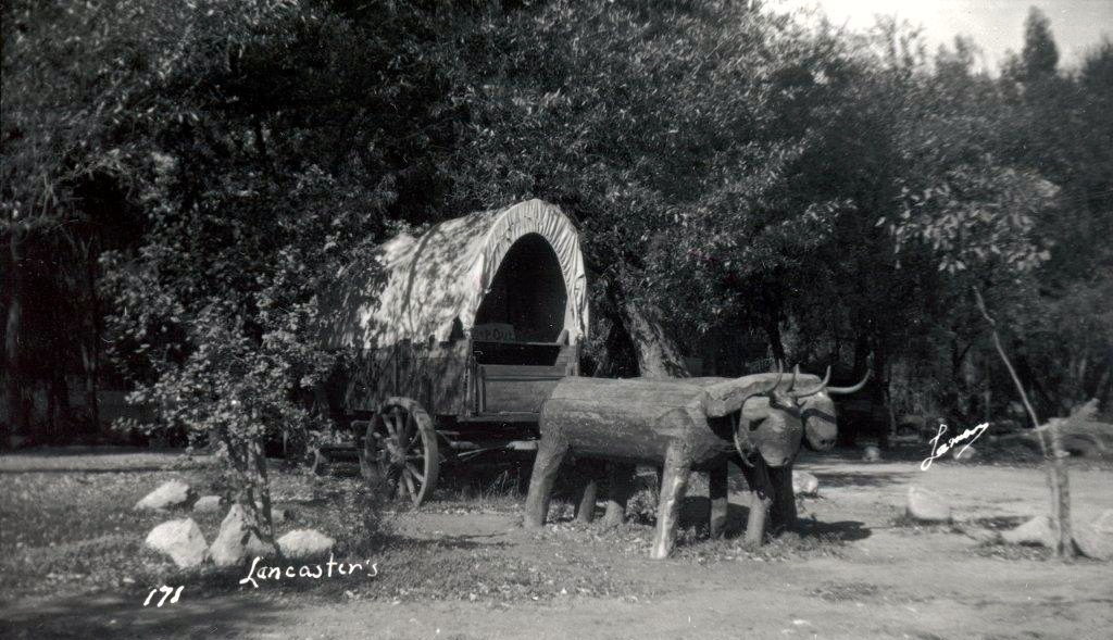 Covered wagon and carved wooden steer, next to Lancaster Lake museum, early 1930's. (Photo, courtesy Little Landers Society)