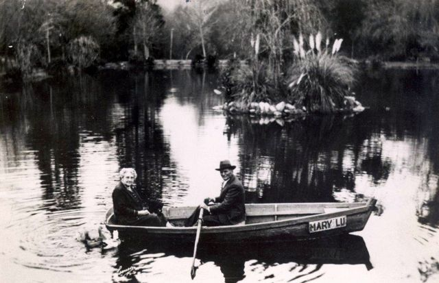 """Grandpa"" Lancaster and his wife, Margaret, in one of his homemade rowboats, c. late 1920's. (Photo, courtesy Little Landers Historical Society)"