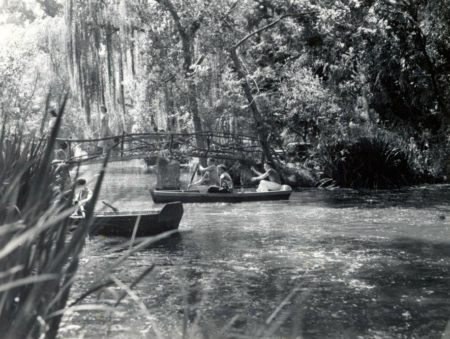 Boating on Lancaster Lake in the 1930's; iconic bridge in the background. (Courtesy, Little Landers Society)
